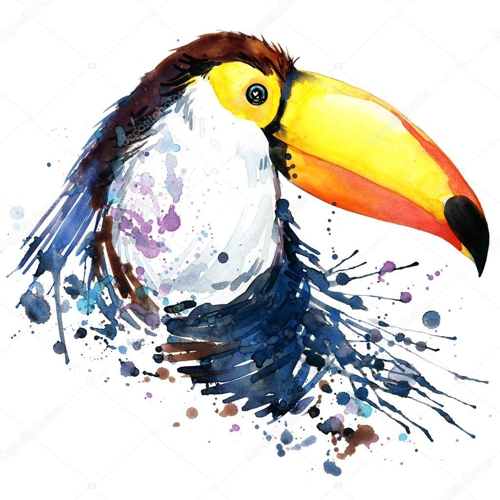 toucan T-shirt graphics. toucan illustration with splash watercolor textured  background.unusual illustration watercolor toucan fashion print, poster for textiles, fashion design