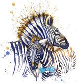zebra family T-shirt graphics. zebra illustration with splash watercolor textured  background. unusual illustration watercolor zebra for fashion print, poster, textiles, fashion design