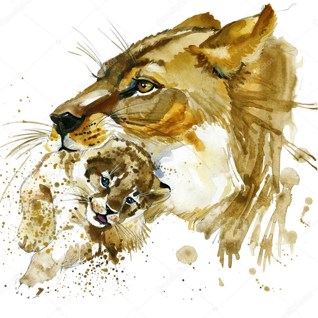 lioness and cub T-shirt graphics. lioness and cub illustration with splash watercolor textured  background. unusual illustration watercolor lion for fashion print, poster, textiles, fashion design