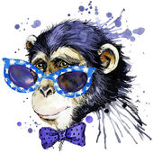 monkey T-shirt graphics. monkey illustration with splash watercolor textured  background. unusual illustration watercolor monkey for fashion print, poster, textiles, fashion design