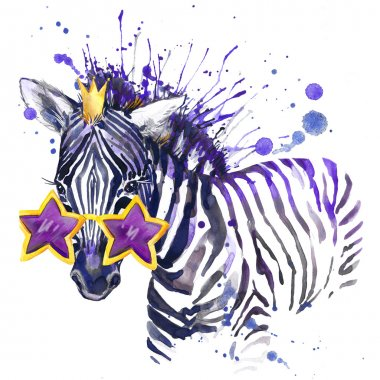 little zebra T-shirt graphics. little zebra illustration with splash watercolor textured  background. unusual illustration watercolor little zebra for fashion print, poster, textiles, fashion design