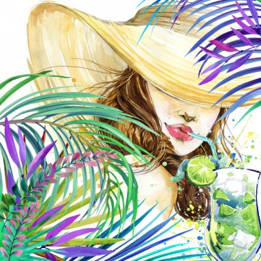 Beautiful young woman with fruit cocktail and tropical leaves background. Girl and beach cocktail party. cocktail party poster background