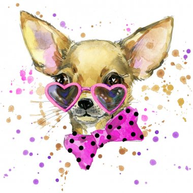 dog fashion T-shirt graphics. dog illustration with splash watercolor textured  background. unusual illustration watercolor puppy dog for fashion print, poster, textiles, fashion design