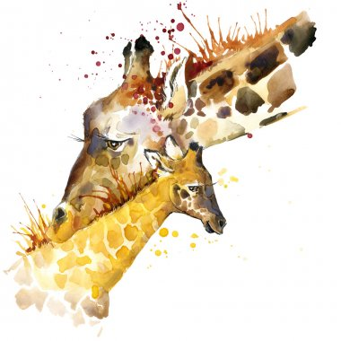 Giraffe T-shirt graphics. giraffe family illustration with splash watercolor textured background. unusual illustration watercolor giraffe for fashion print, poster, textiles, fashion design