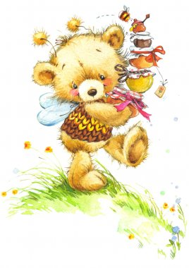 Teddy bear honey and flower background. watercolor illustration