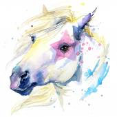 Horse illustration with splash watercolor textured background.