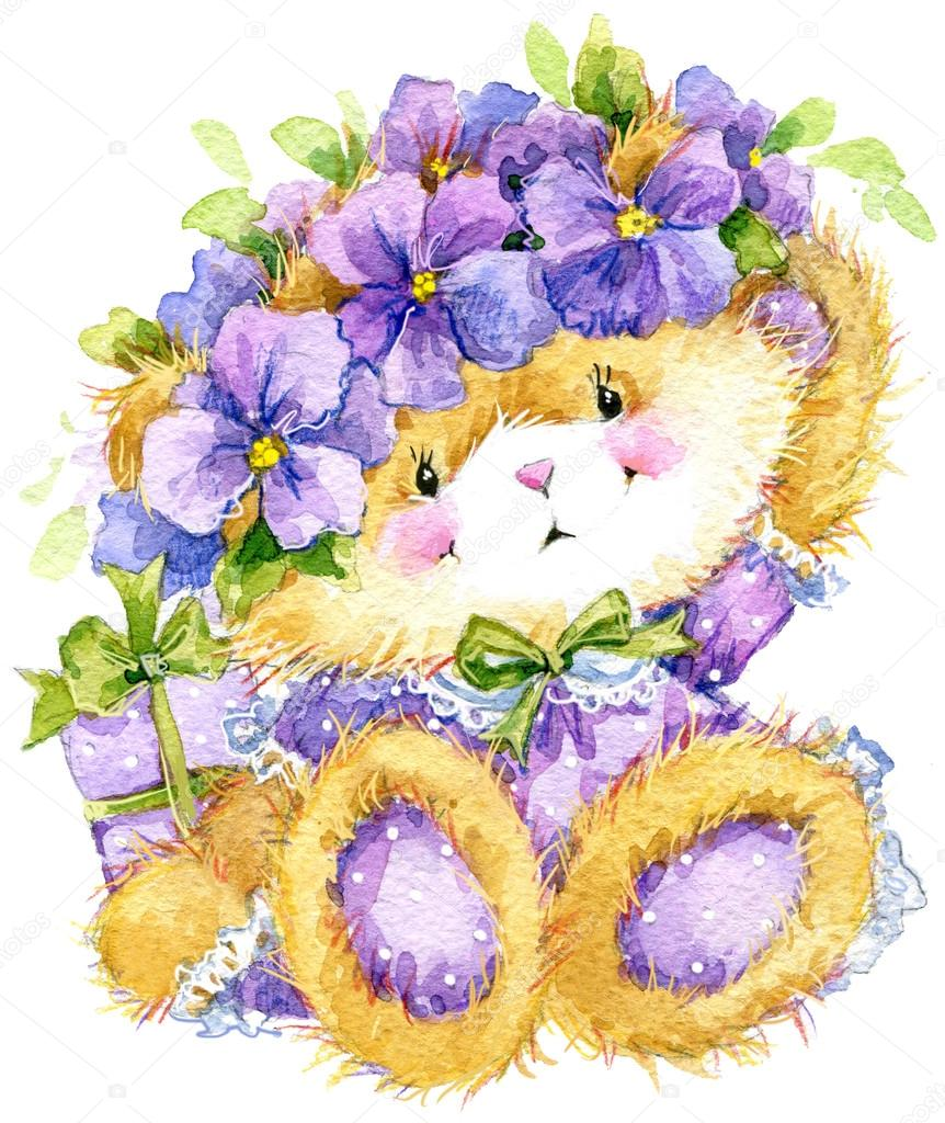 Toy teddy bear and flower violet watercolor illustration stock toy teddy bear and flower violet toy background for celebration kids birthday festival watercolor illustration photo by dobryninaart izmirmasajfo