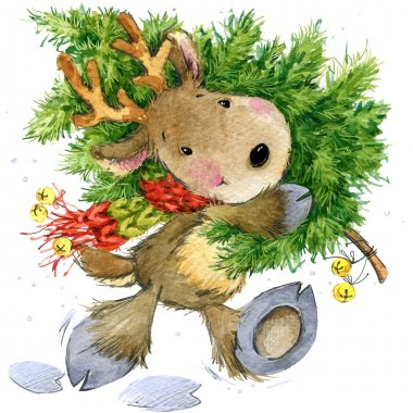 Funny deer Santa Claus. watercolor illustration for New Year and Christmas decoration.