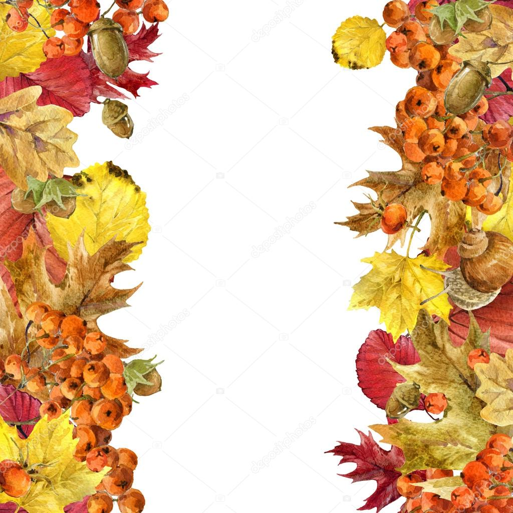 Autumn watercolor background colorful leaves, fruit, berries, mushrooms, yellow leaves, rose hips with place for your text. watercolor illustration