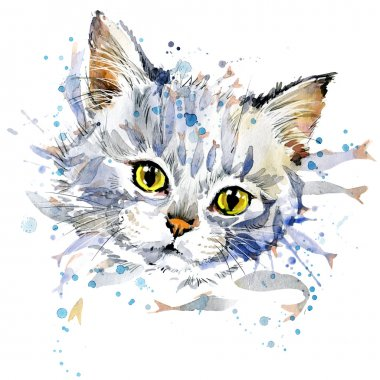 Funny kitten and fish T-shirt graphics, Funny kitten  illustration with splash watercolor textured background. illustration watercolor kitten  fashion print, poster for textiles, fashion design