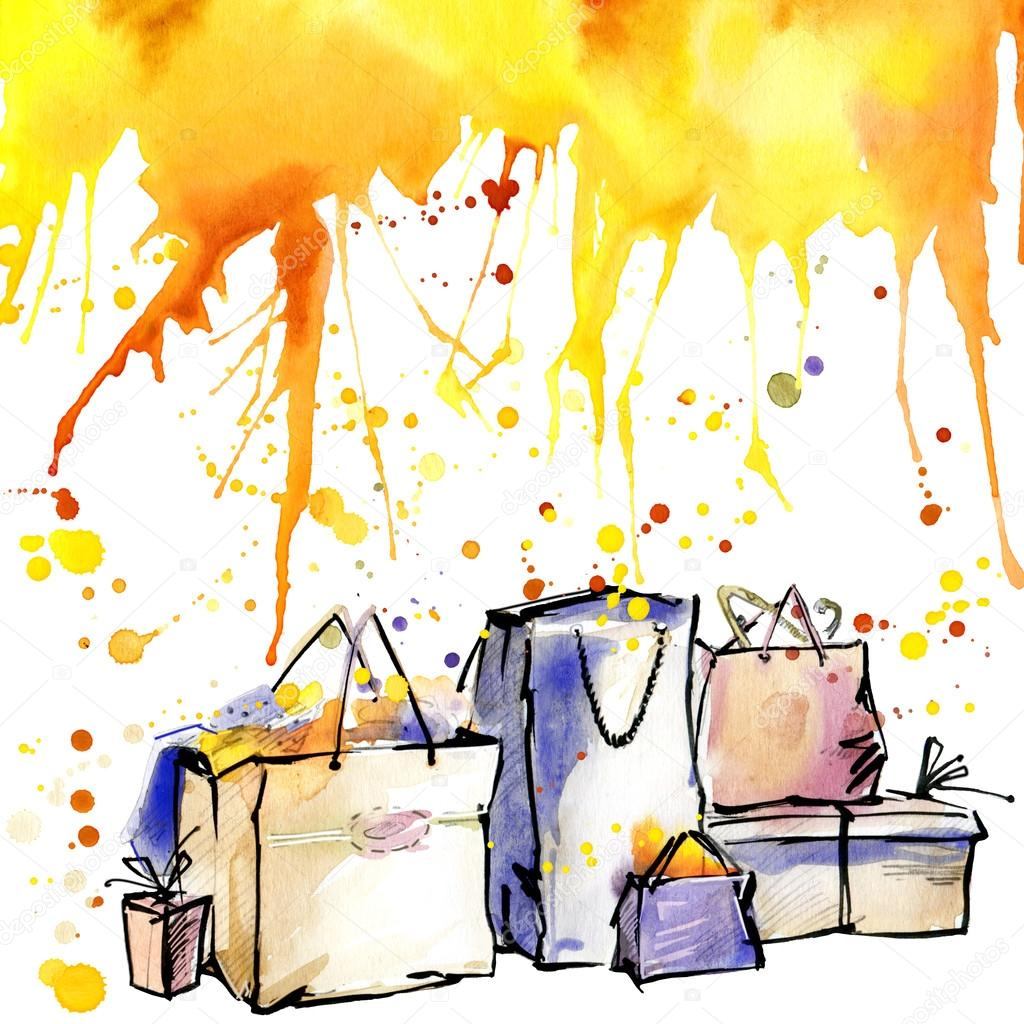 packaging bags bag buy watercolor background autumn color
