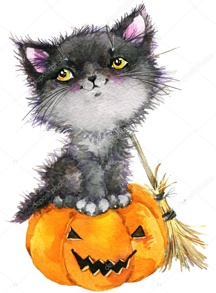 Halloween Holiday Little Cat Witch And Pumpkin Watercolor