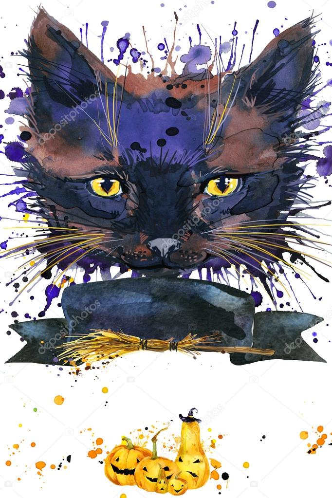 Halloween Cat Witch Watercolor Illustration Background For The Holiday Splash Texture