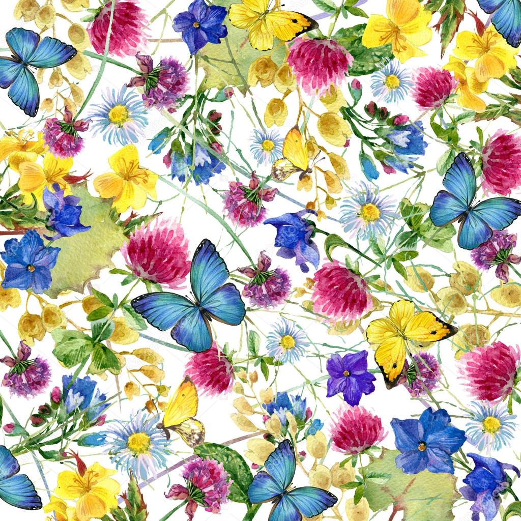 Herbs and flowers with butterfly background. watercolor illustration