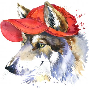 wolf and red cap T-shirt graphics, wolf illustration with splash watercolor textured background. illustration watercolor wolf fashion print, poster for textiles, fashion design