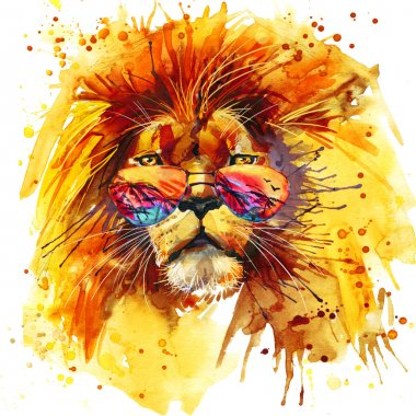 Cool Lion T-shirt graphics,  Lion illustration with splash watercolor textured background. unusual illustration watercolor  Lion King fashion print, poster for textiles, fashion design