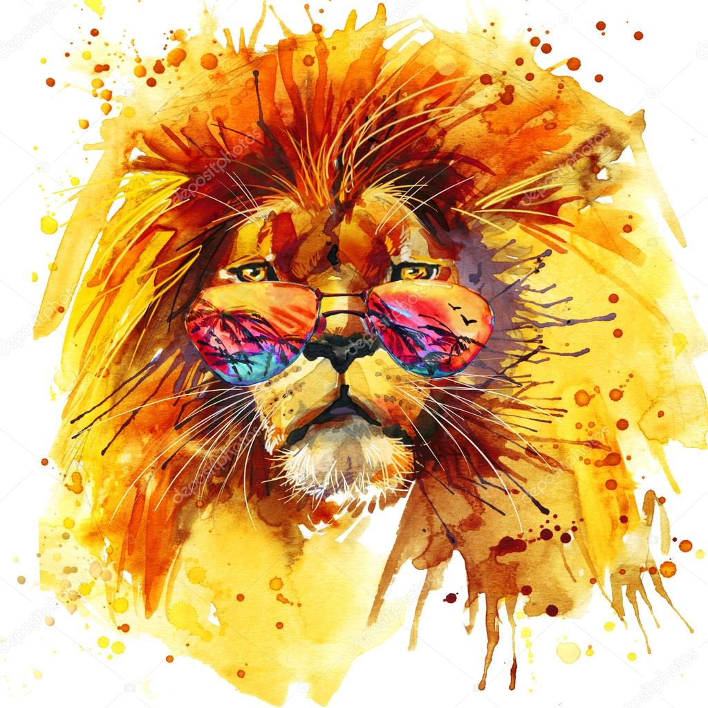 Cool Lion T Shirt Graphics Illustration With Splash Watercolor Textured Background Unusual