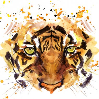 tiger T-shirt graphics, tiger eyes illustration with splash watercolor textured background. illustration watercolor tiger for fashion print, poster for textiles, fashion design