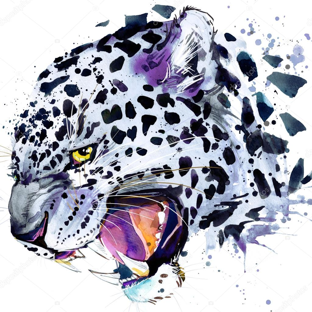 snow leopard T-shirt graphics, snow leopard illustration with splash watercolor textured background. illustration watercolor snow leopard for fashion print, poster for textiles, fashion design