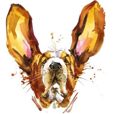 Funny dog basset fashion T-shirt graphics. dog illustration with splash watercolor textured  background. unusual illustration watercolor puppy dog for fashion print, poster, textiles, fashion design