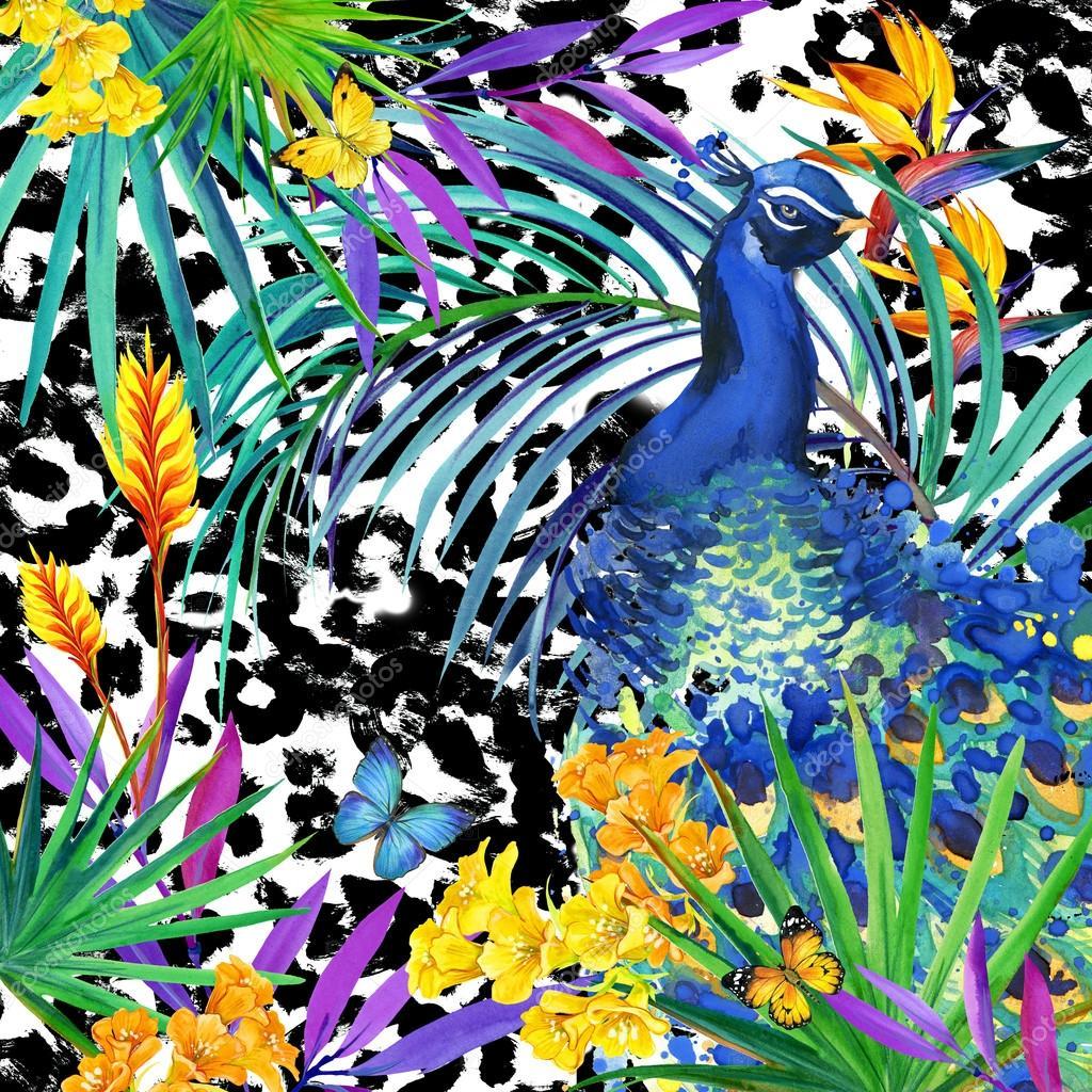 Flores tropicales, hojas y mariposas y animales silvestres de piel ...