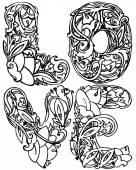 Ozdobné textové láska a květiny ornament. Grafické znázornění textu lásku. ručně vyráběné umělecké ilustrace. ilustrace pro módní tisku, plakát pro textil, módní design, tetování design