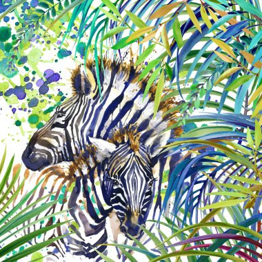 Tropical exotic forest, Zebra family, green leaves, wildlife, watercolor illustration. watercolor background unusual exotic nature. Zebra family illustration