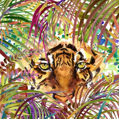 Tropical exotic forest, tiger, green leaves, wildlife, watercolor illustration. watercolor background unusual exotic nature. tiger illustration