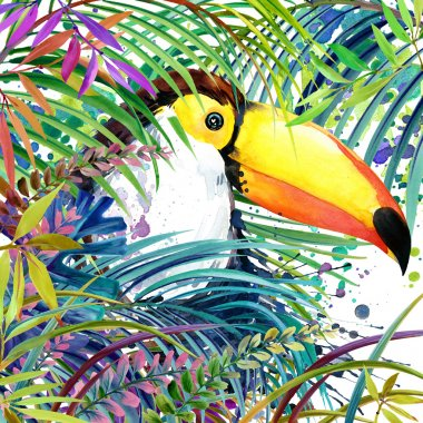 Tropical exotic forest,toucan bird,  green leaves, wildlife, watercolor illustration. watercolor background unusual exotic nature. toucan bird  illustration.