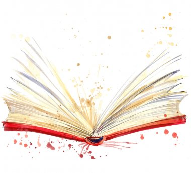 open book. watercolor illustration