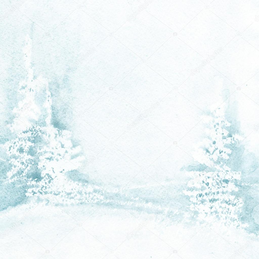冬の風景水彩背景。冬のクリスマス ツリー。木と雪で冬の青の風景。背景