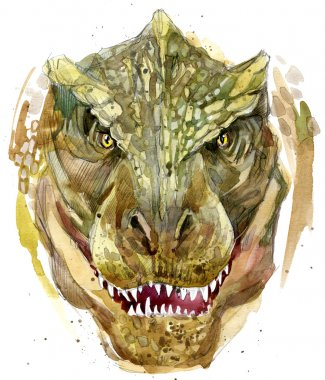 dinosaur drawing watercolor. ancient dinosaur extinct animal illustration. Dinosaur sketch background
