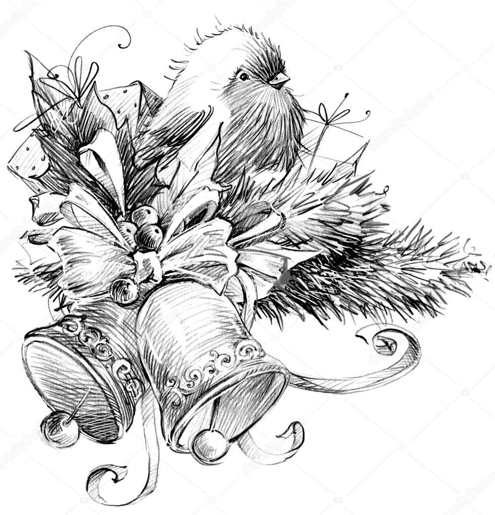 pássaro de inverno galho de árvore de natal sino de natal desenho