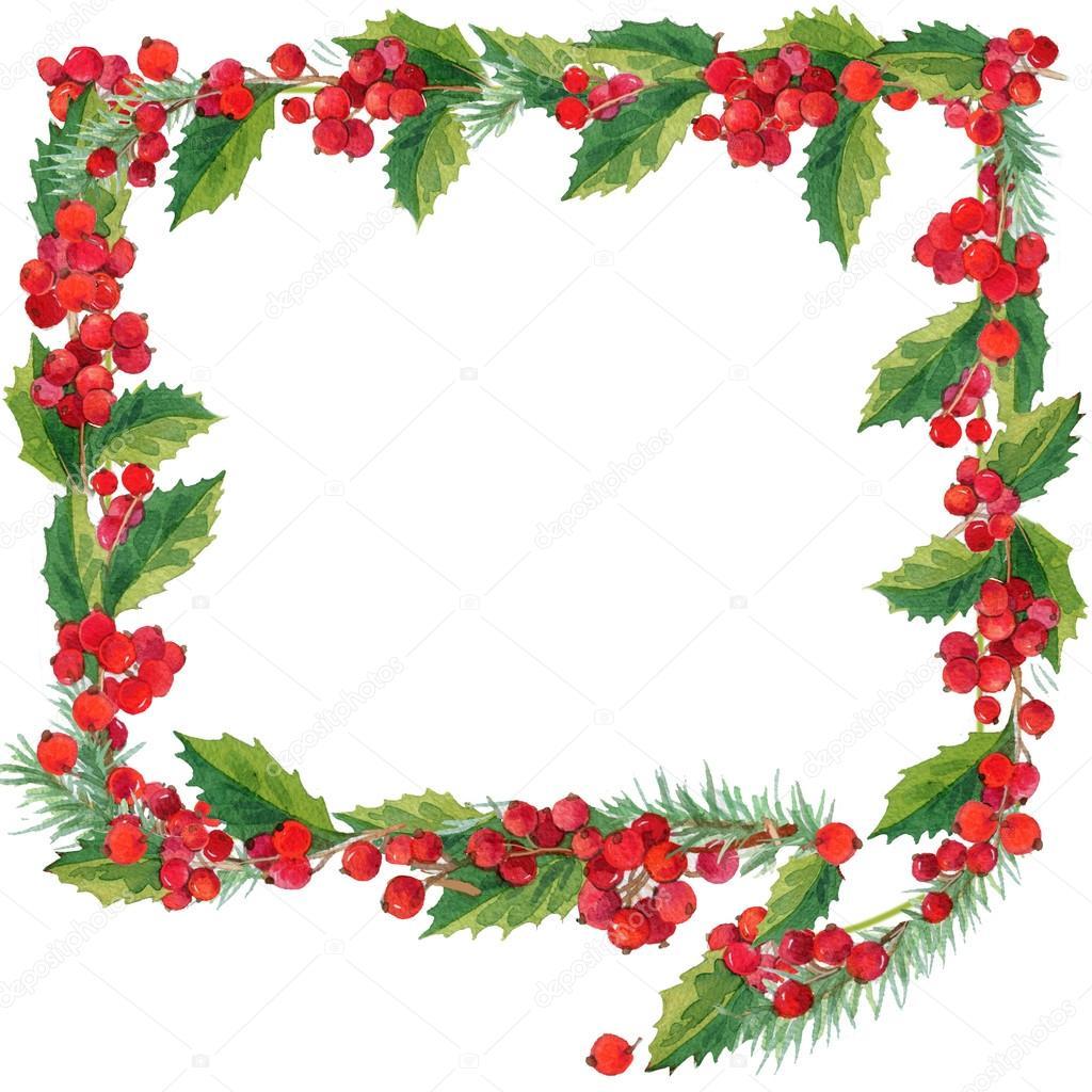 クリスマスの花輪の水彩画。音声バブル クリスマスのフレームが白い背景