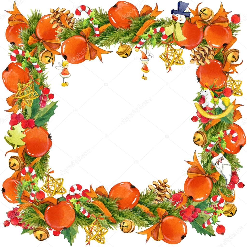 watercolor christmas tree wreath on white background christmas