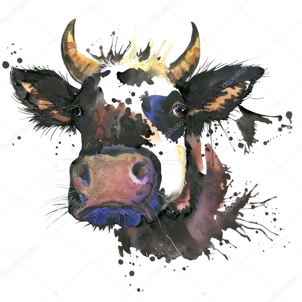 Cow watercolor graphics. cow animal illustration with splash watercolor textured background. unusual illustration watercolor cow