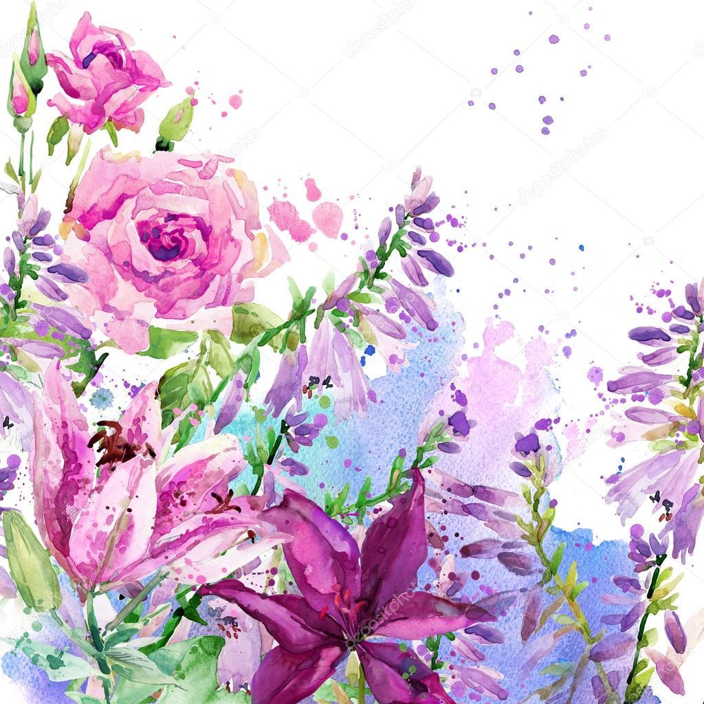 Цветы акварель фон
