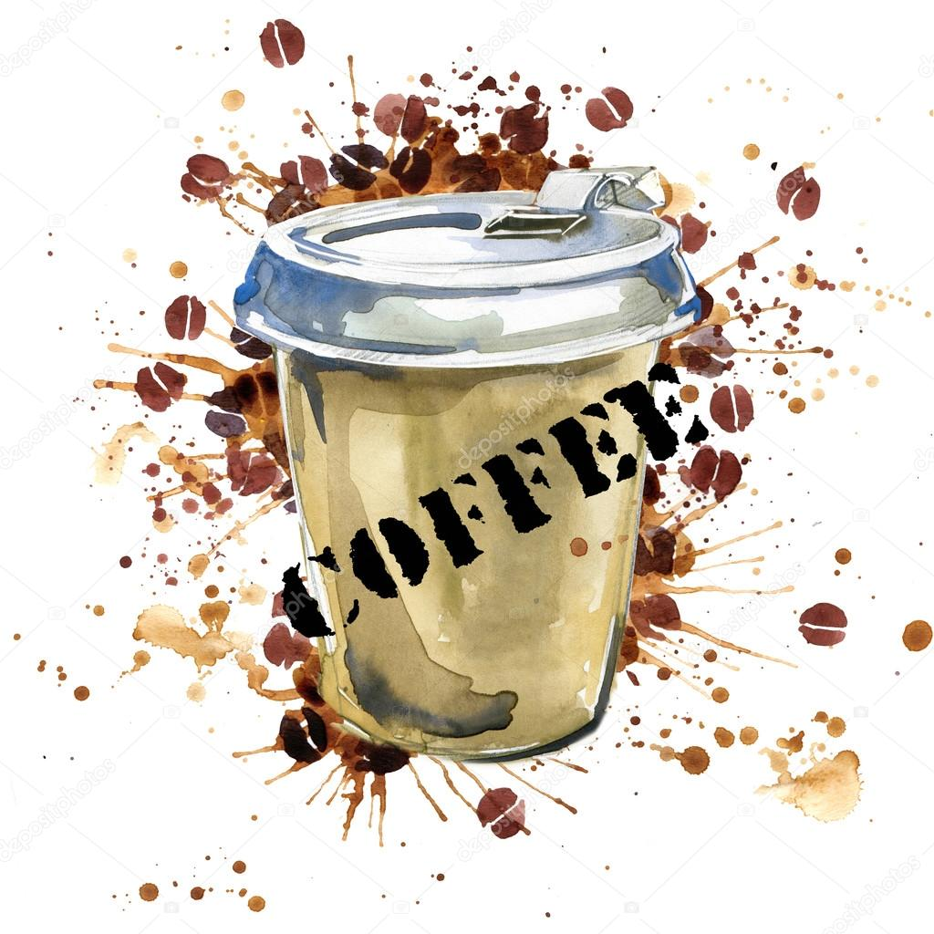 Coffee watercolor coffee cup and coffee grains isolated for Coffee watercolor