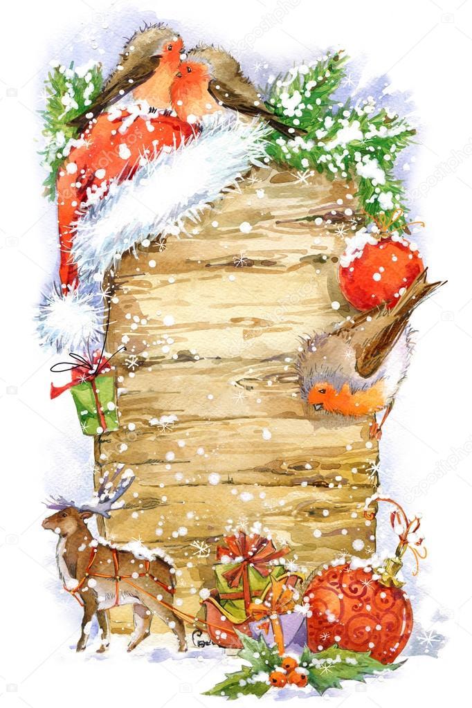 Aquarell weihnachten grenze aquarell weihnachten hintergrund weihnachtsbaum niedliche winter - Aquarell weihnachten ...