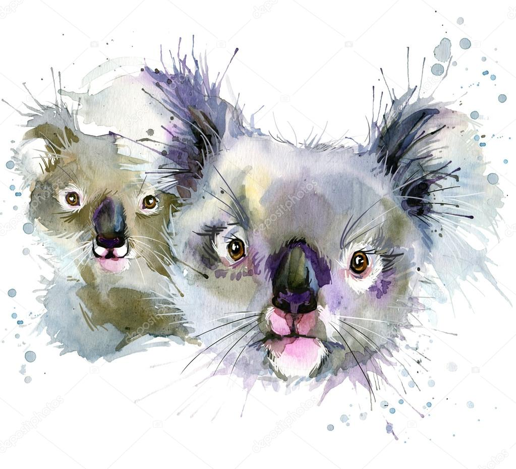 koala and cub  T-shirt graphics, koala illustration with splash watercolor textured background. illustration watercolor koala and cub for fashion print, poster for textiles, fashion design