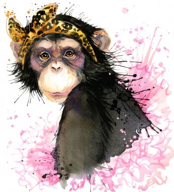 girl monkey T-shirt graphics, monkey chimpanzee illustration with splash watercolor textured background. illustration watercolor monkey fashion print, poster for textiles, fashion design
