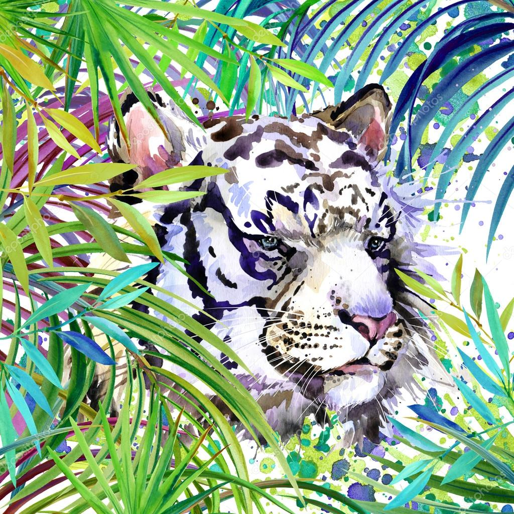 Tropical exotic forest, white tiger, green leaves, wildlife, watercolor illustration. watercolor background unusual exotic nature. white tiger illustration