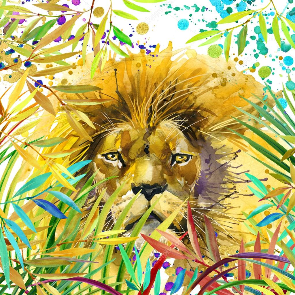 Lion illustration. Tropical exotic forest, green leaves, wildlife, lion, watercolor illustration. watercolor background unusual exotic nature