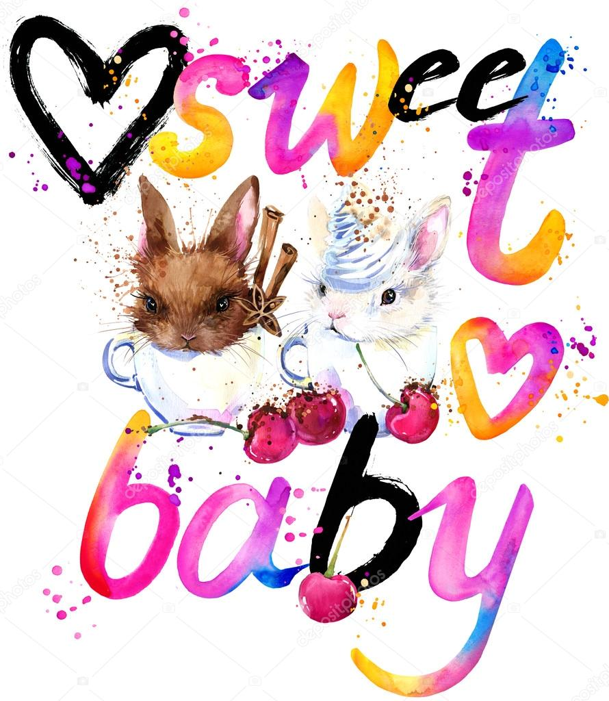 T-shirt lettering design. Sweet rabbit T-shirt graphics.  rabbit illustration and watercolor textured background.
