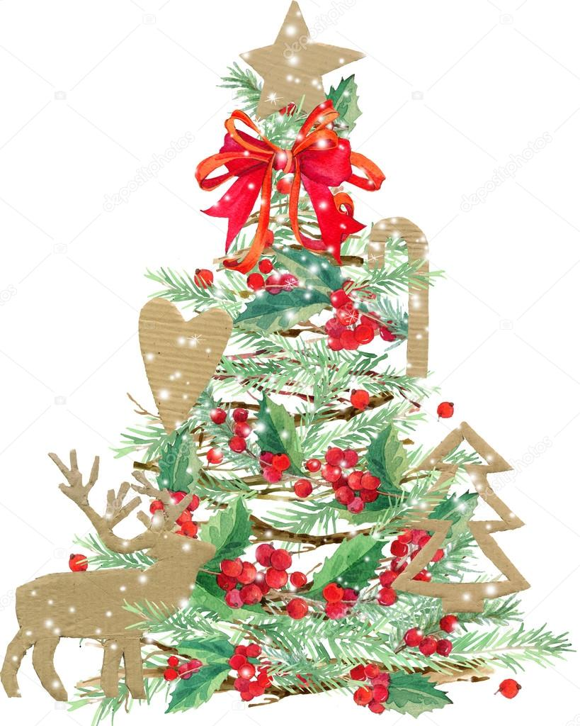 Watercolor Christmas Tree Watercolor Winter Holidays Background