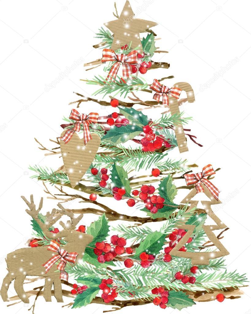 Watercolor Christmas tree. watercolor winter holidays background. illustration Christmas tree, reindeer, mistletoe