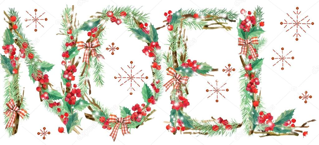 watercolor christmas background noel text stock photo