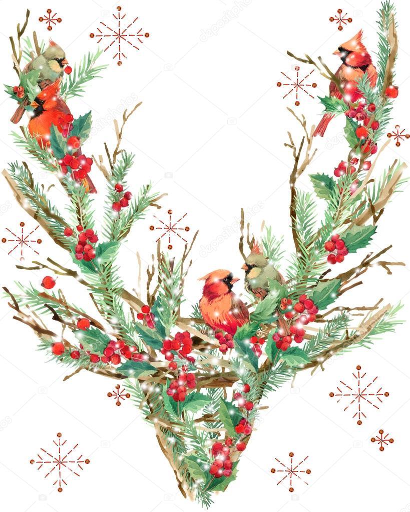 Aquarell weihnachten rentier und vogel aquarell winter urlaub hintergrund abbildung - Aquarell weihnachten ...