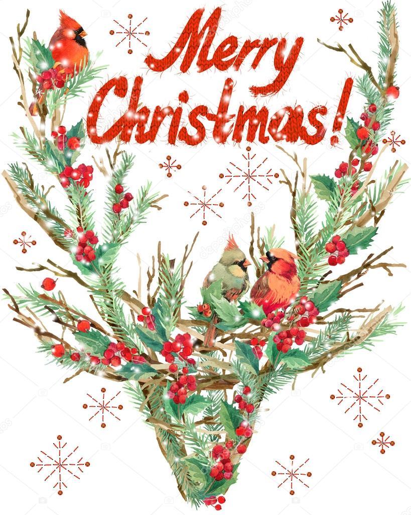 Fr hliche weihnachten aquarell weihnachten rentiere und - Aquarell weihnachten ...