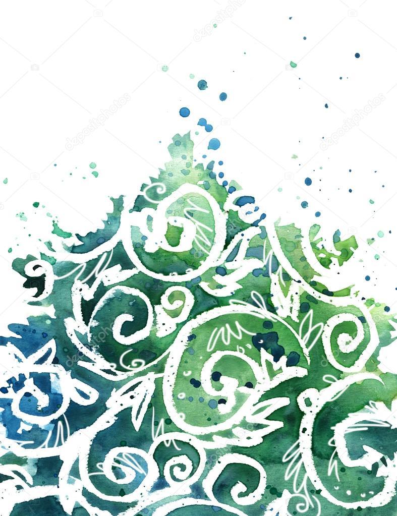 Aquarell weihnachtsbaum hintergrund aquarell weihnachten - Aquarell weihnachten ...